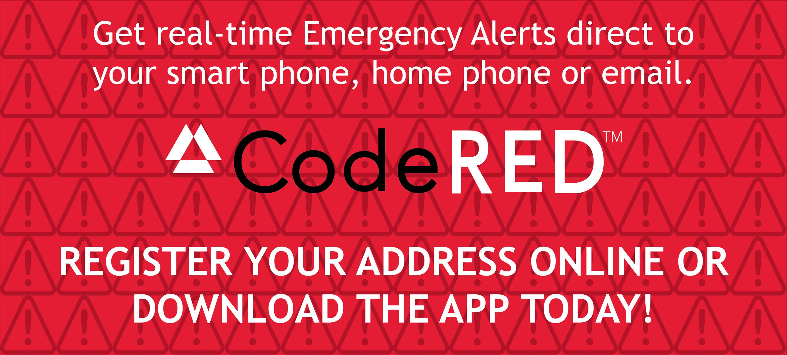 Graphic encouraging residents to sign up for CodeRED online or via their app