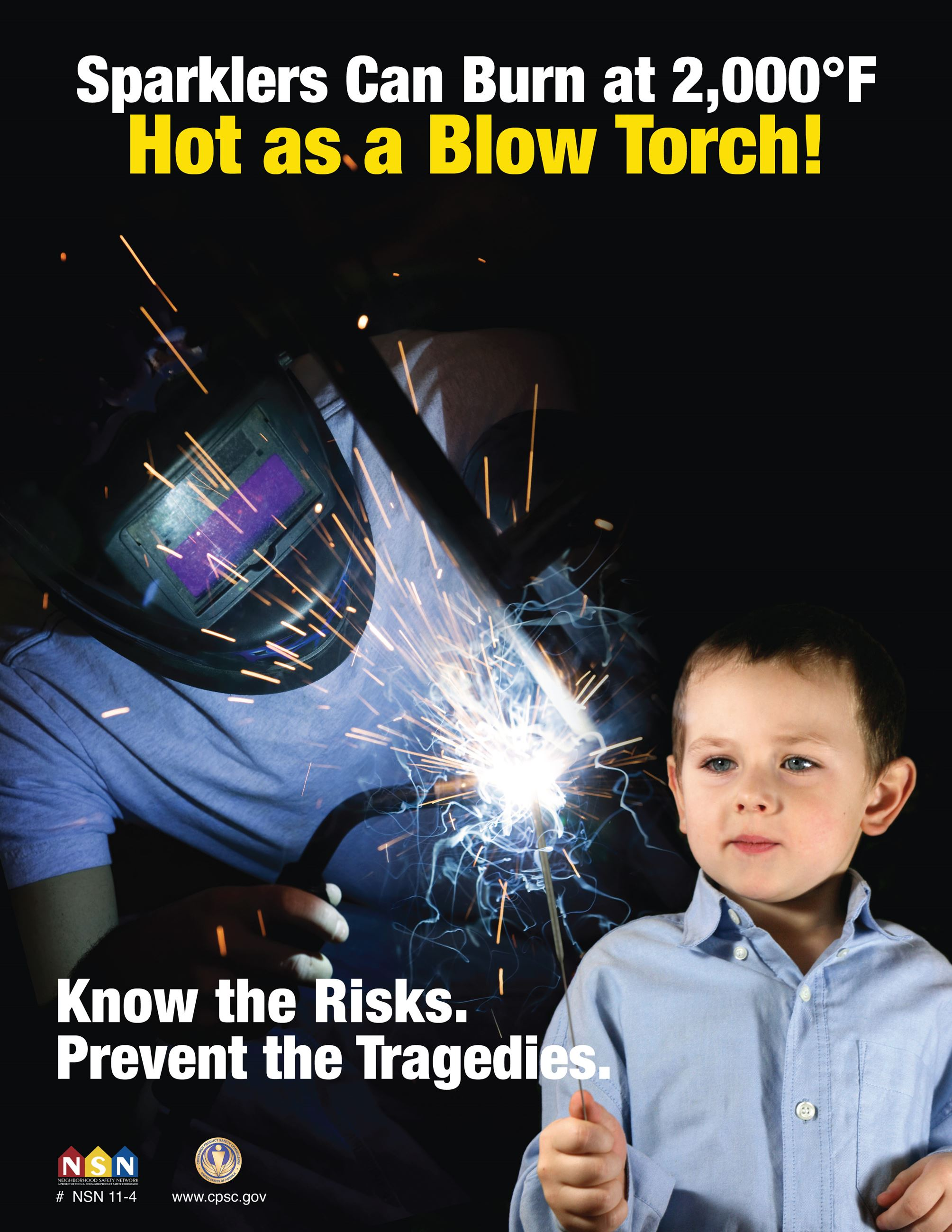 "A young child playing with a sparkler being lit by a blow torch with the text, ""Sparklers can bur"