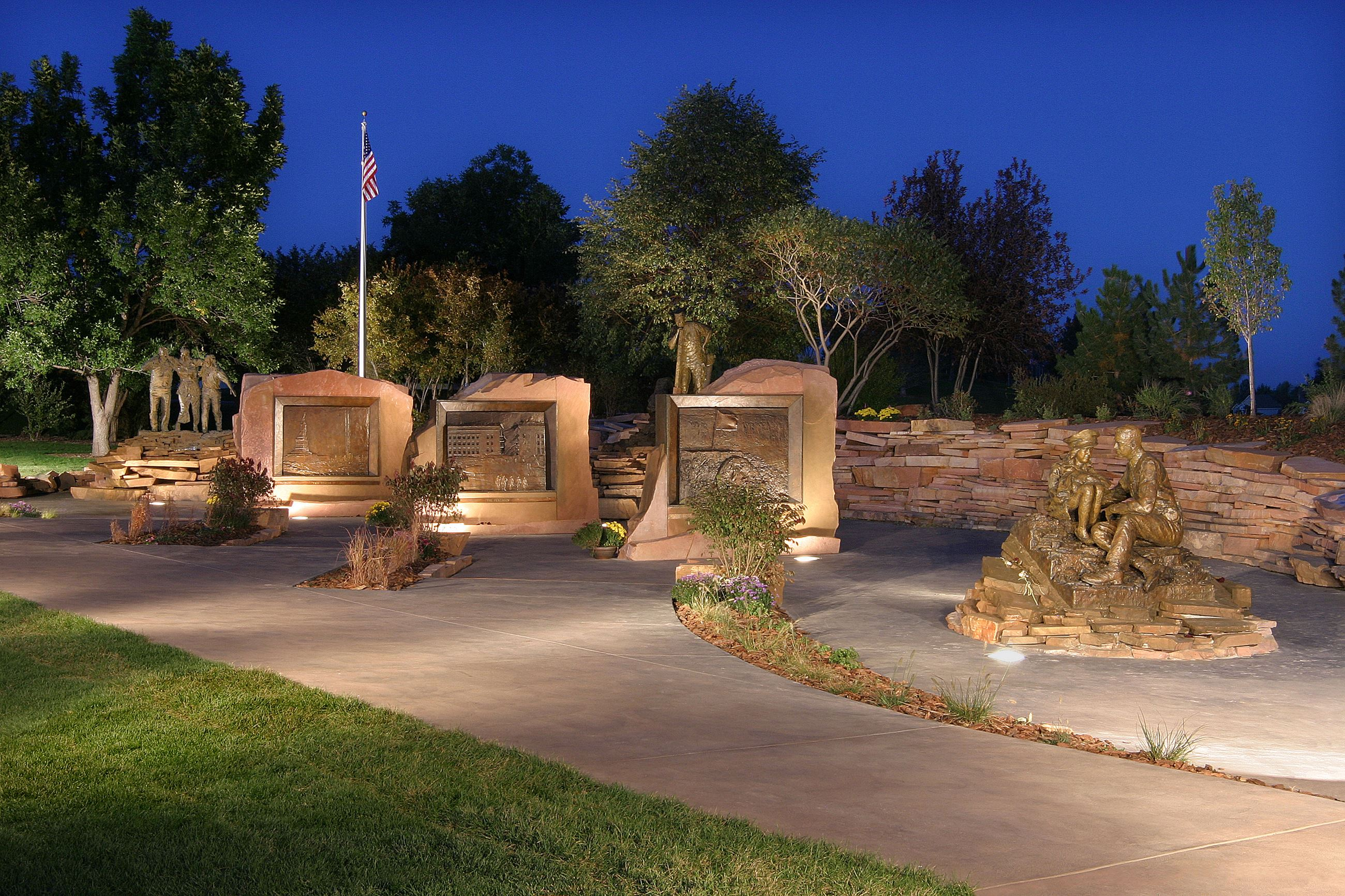 The Broomfield 9/11 Memorial lit up at night