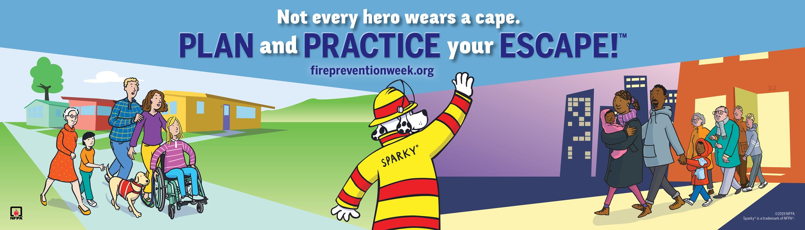 "Graphic banner for Fire Prevention Week featuring residential scene and safety theme ""Not every h"