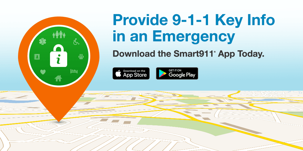 smart911 graphic that says provide 9-1-1 key info in an emergency