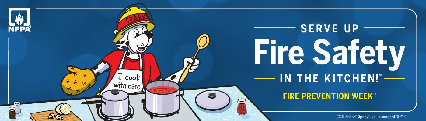 Fire Prevention Week graphic banner stating this year's theme of kitchen safety